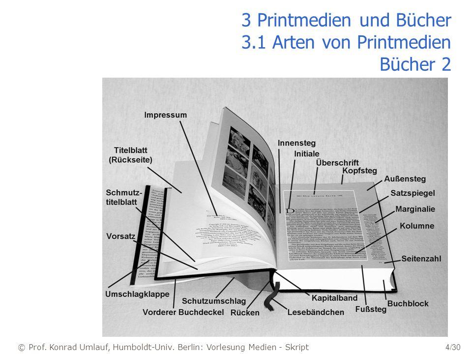 © Prof. Konrad Umlauf, Humboldt-Univ. Berlin: Vorlesung Medien - Skript 4/30 3 Printmedien und Bücher 3.1 Arten von Printmedien Bücher 2