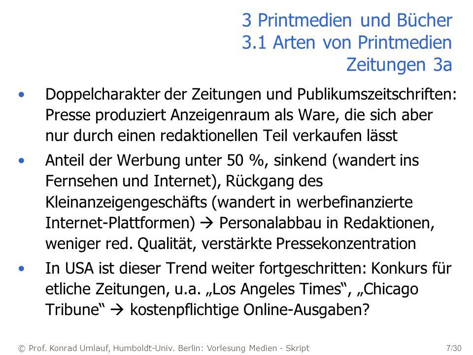 © Prof. Konrad Umlauf, Humboldt-Univ. Berlin: Vorlesung Medien - Skript 7/30 3 Printmedien und Bücher 3.1 Arten von Printmedien Zeitungen 3a Doppelcha