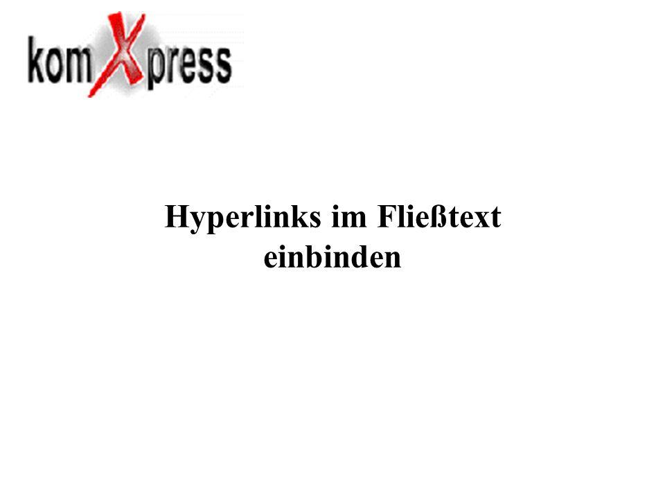 Hyperlinks im Fließtext einbinden
