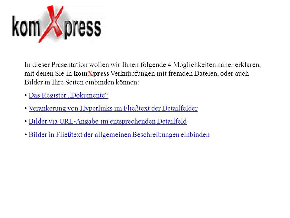 Um in den Detailfeldern Verweise auf andere Internetseiten, Berichte, Formulare, Merkblätter, usw.