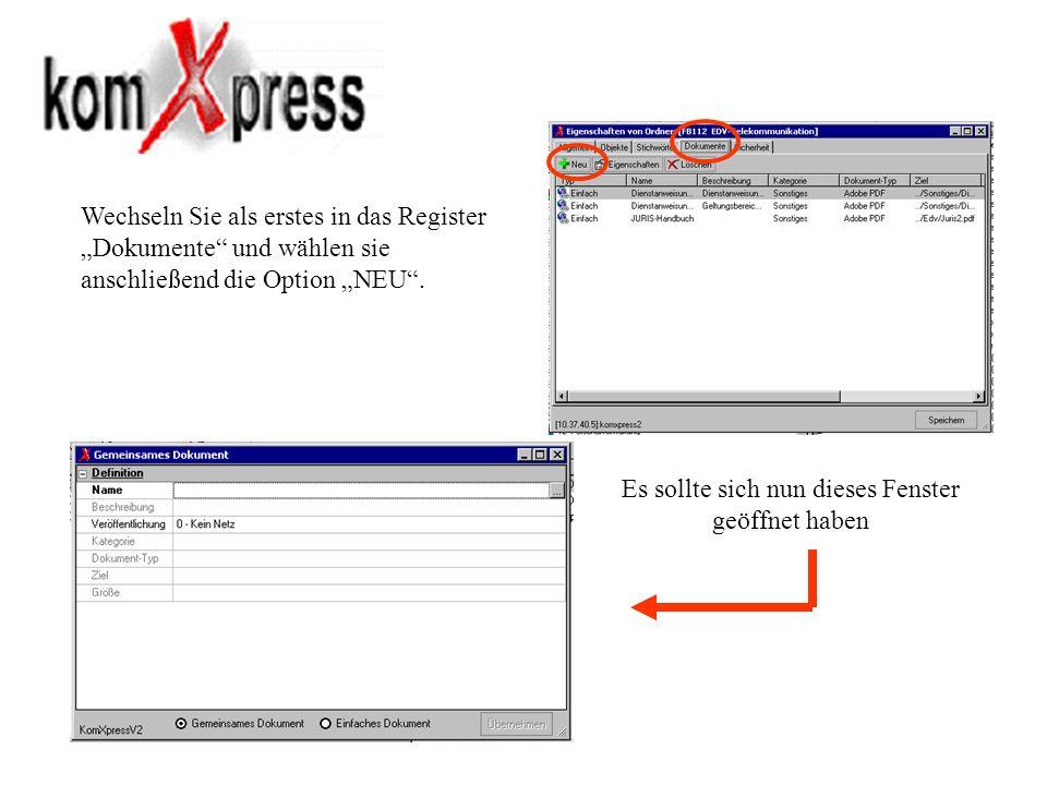 Wechseln Sie als erstes in das Register Dokumente und wählen sie anschließend die Option NEU. Es sollte sich nun dieses Fenster geöffnet haben