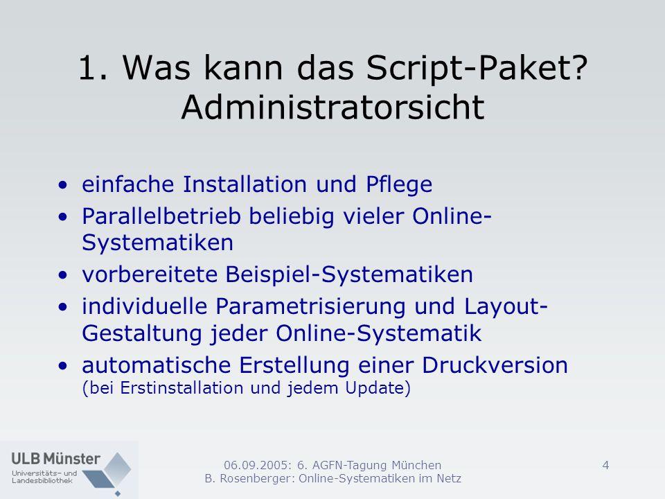 06.09.2005: 6. AGFN-Tagung München B. Rosenberger: Online-Systematiken im Netz 4 1. Was kann das Script-Paket? Administratorsicht einfache Installatio
