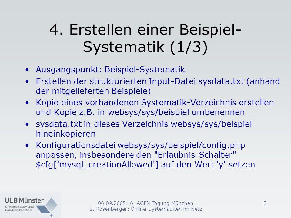 06.09.2005: 6. AGFN-Tagung München B. Rosenberger: Online-Systematiken im Netz 8 4. Erstellen einer Beispiel- Systematik (1/3) Ausgangspunkt: Beispiel