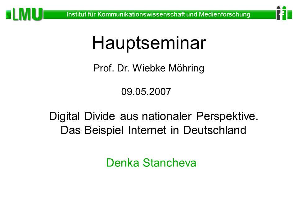Institut für Kommunikationswissenschaft und Medienforschung 12 Meistgenutzte Online Inhalte Aktuelle Nachrichten - Geschehen in Deutschland, Ausland (45%) Informationen aus Wissenschaft, Forschung, Bildung (42%) Freizeitinformationen/Veranstaltungstipps (40%)