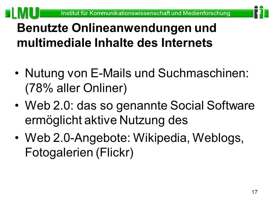 Institut für Kommunikationswissenschaft und Medienforschung 17 Benutzte Onlineanwendungen und multimediale Inhalte des Internets Nutung von E-Mails un