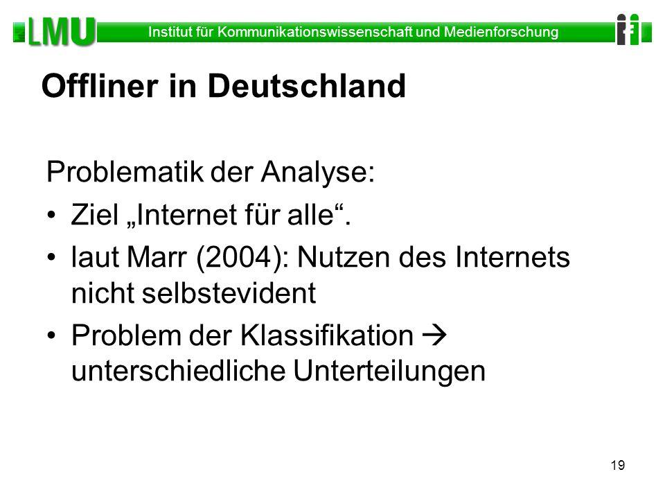 Institut für Kommunikationswissenschaft und Medienforschung 19 Offliner in Deutschland Problematik der Analyse: Ziel Internet für alle. laut Marr (200