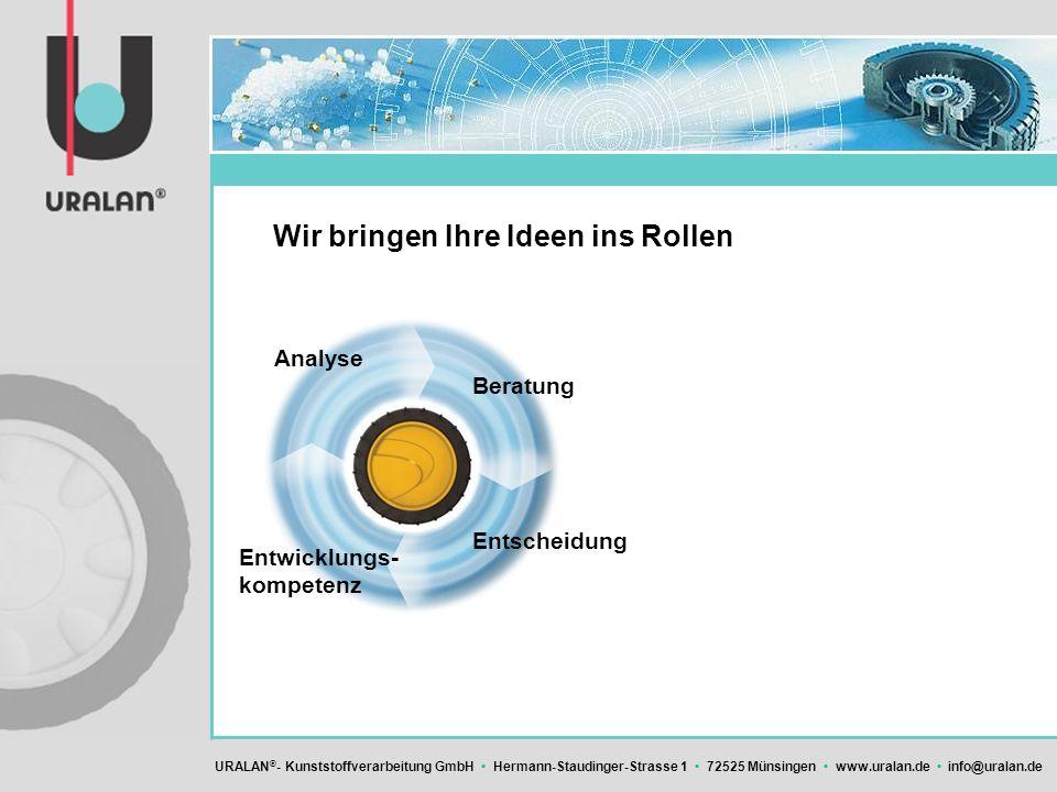 URALAN ® - Kunststoffverarbeitung GmbH Hermann-Staudinger-Strasse 1 72525 Münsingen www.uralan.de info@uralan.de Wir bringen Ihre Ideen ins Rollen Ent