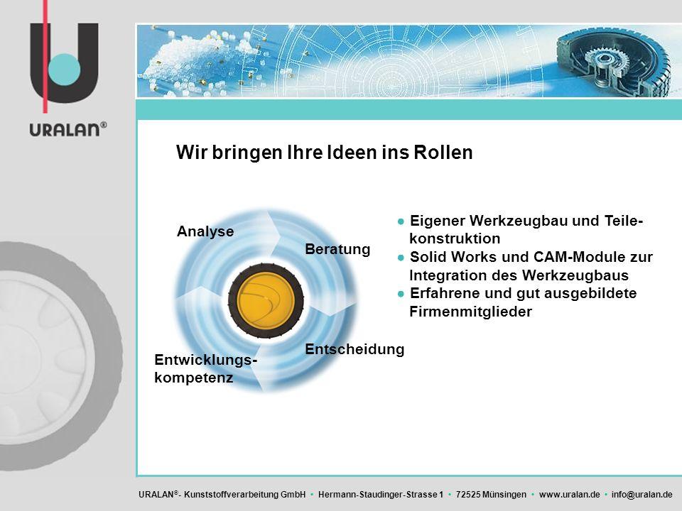 URALAN ® - Kunststoffverarbeitung GmbH Hermann-Staudinger-Strasse 1 72525 Münsingen www.uralan.de info@uralan.de Wir bringen Ihre Ideen ins Rollen Eig