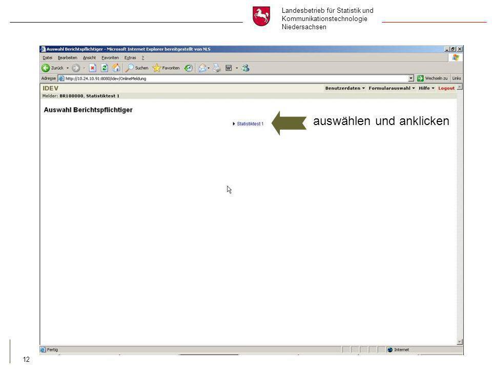 Landesbetrieb für Statistik und Kommunikationstechnologie Niedersachsen 12 auswählen und anklicken