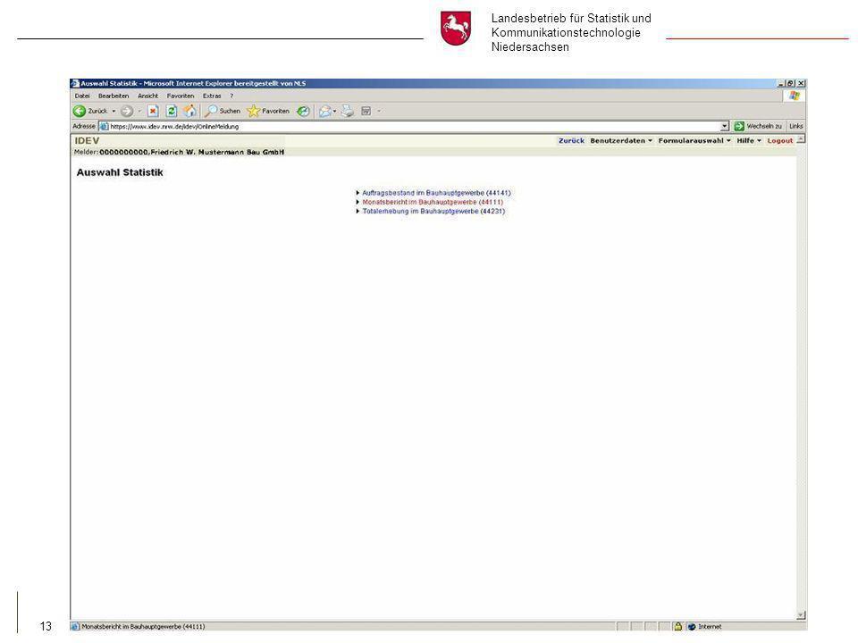 Landesbetrieb für Statistik und Kommunikationstechnologie Niedersachsen 13 auswählen und anklicken