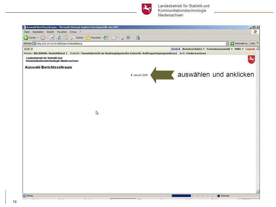 Landesbetrieb für Statistik und Kommunikationstechnologie Niedersachsen 14 auswählen und anklicken