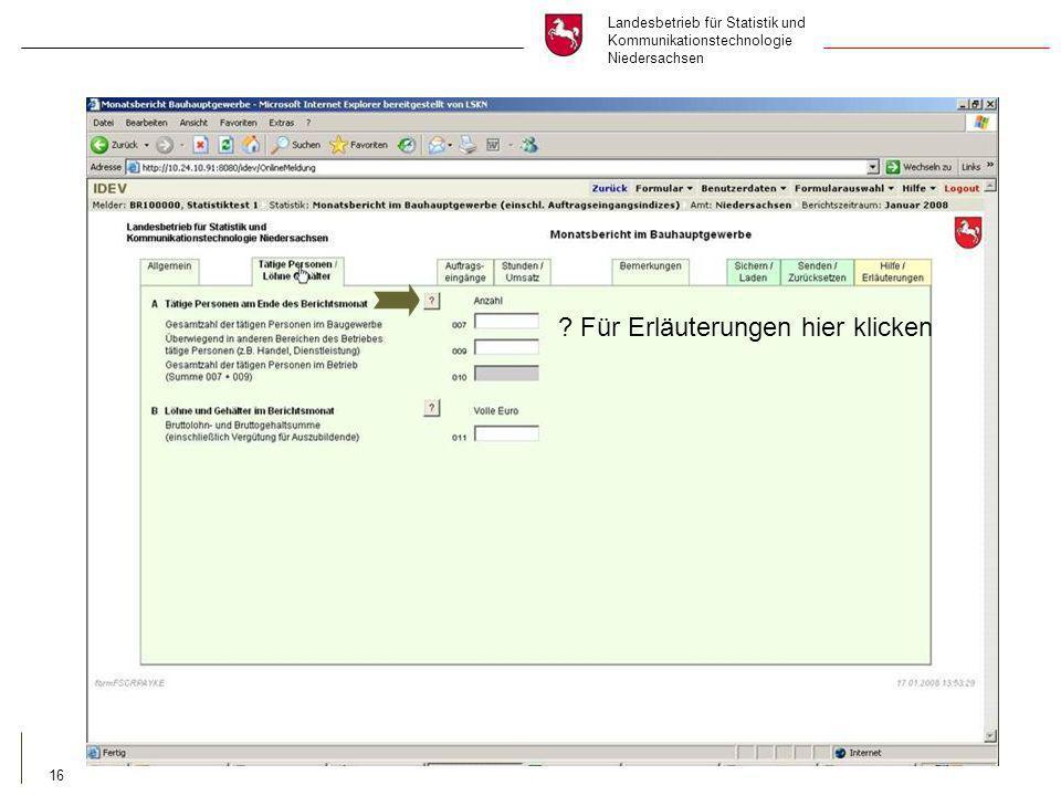 Landesbetrieb für Statistik und Kommunikationstechnologie Niedersachsen 16 .