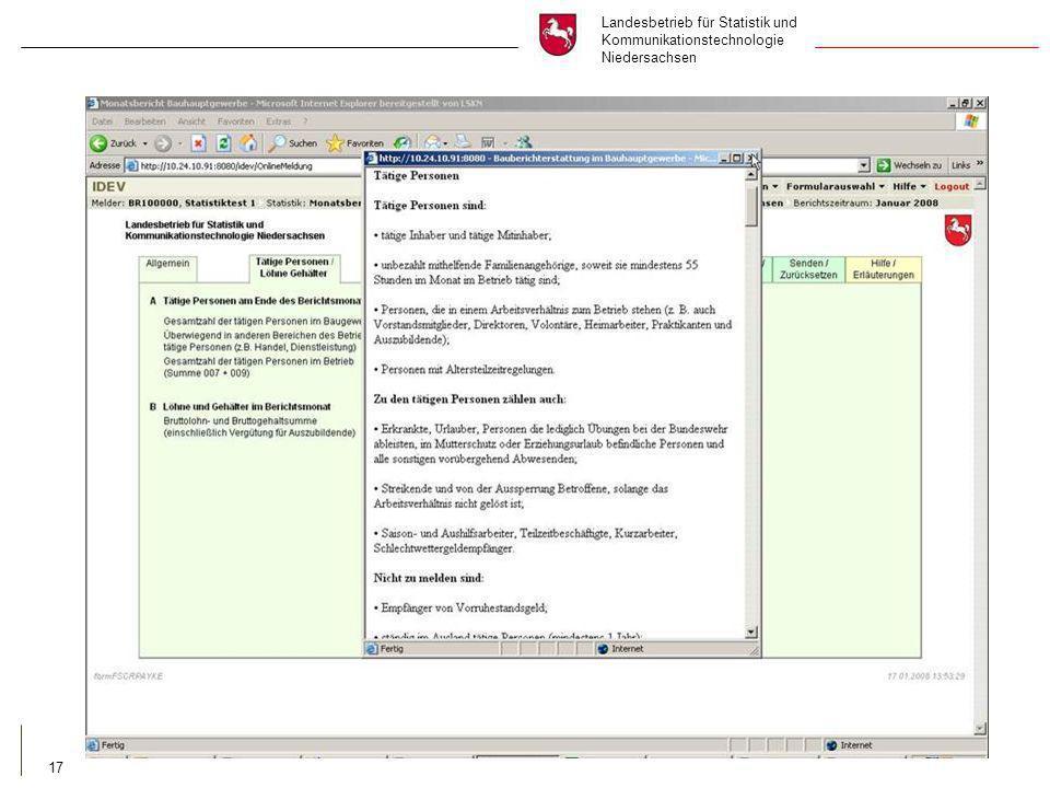 Landesbetrieb für Statistik und Kommunikationstechnologie Niedersachsen 17