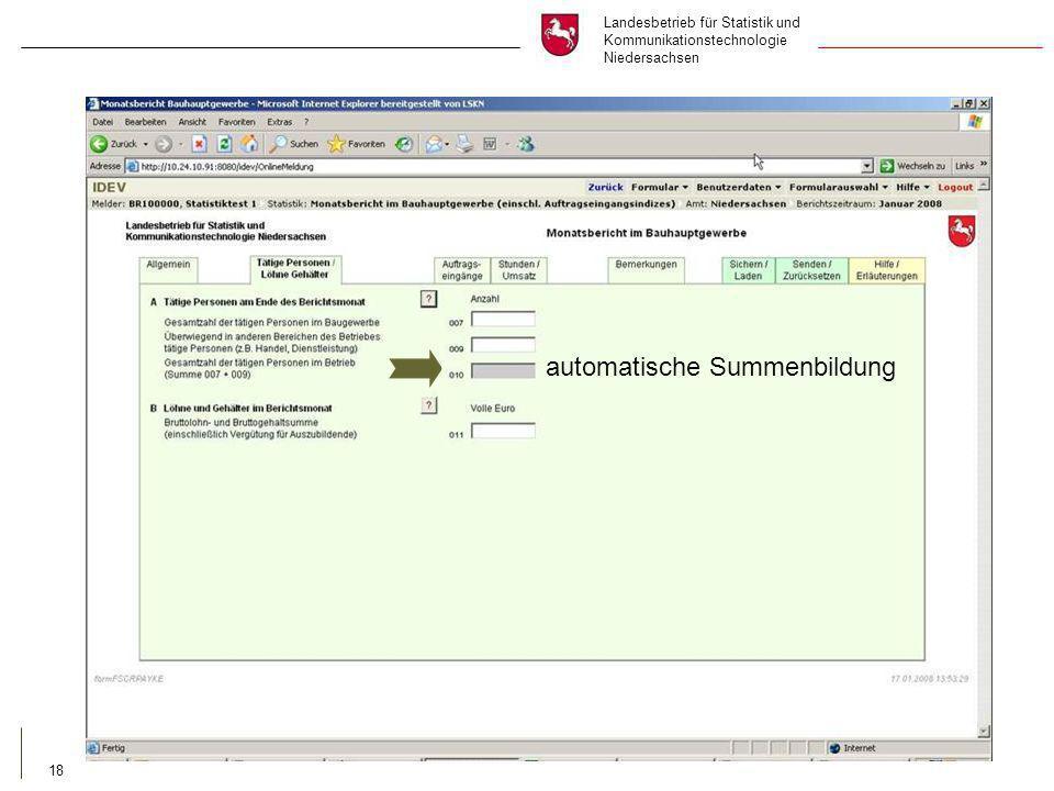 Landesbetrieb für Statistik und Kommunikationstechnologie Niedersachsen 18 automatische Summenbildung