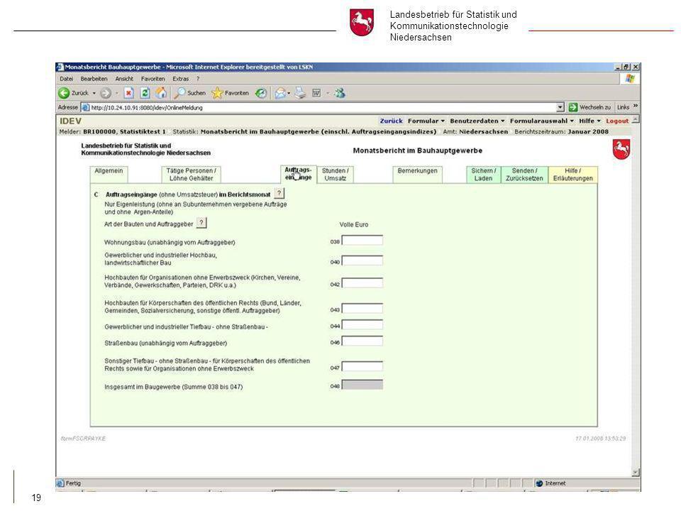 Landesbetrieb für Statistik und Kommunikationstechnologie Niedersachsen 19