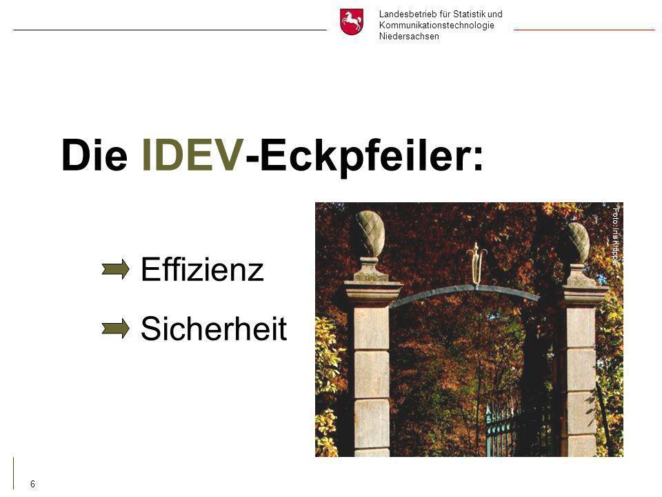 Landesbetrieb für Statistik und Kommunikationstechnologie Niedersachsen 6 Die IDEV-Eckpfeiler: Effizienz Sicherheit Foto: Iris Klöpper