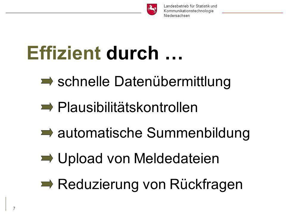 Landesbetrieb für Statistik und Kommunikationstechnologie Niedersachsen 7 Effizient durch … schnelle Datenübermittlung Plausibilitätskontrollen automatische Summenbildung Upload von Meldedateien Reduzierung von Rückfragen