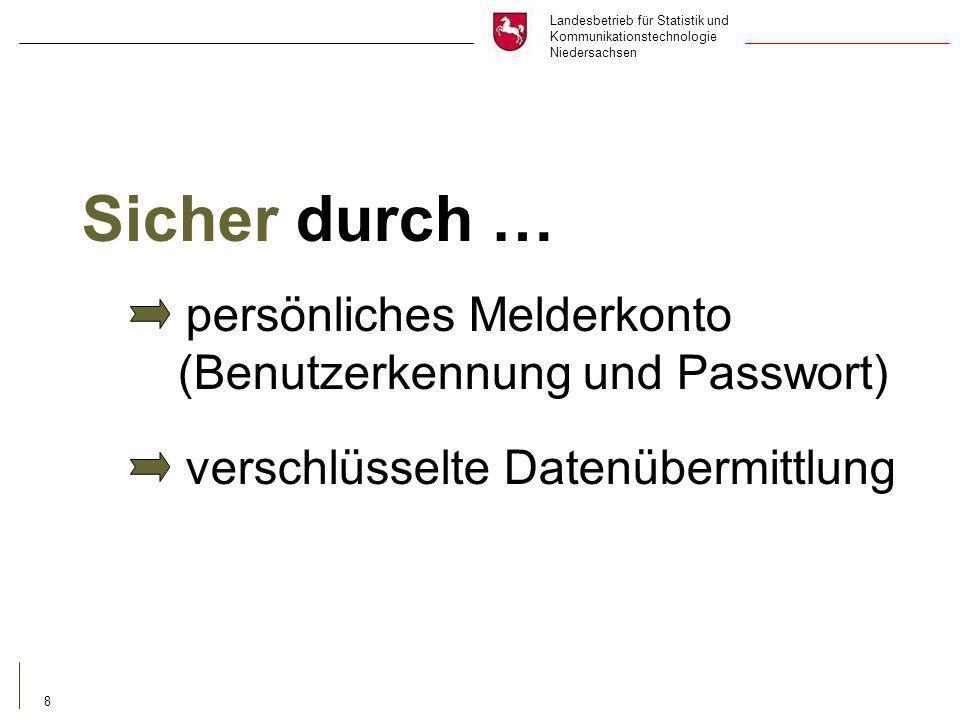 Landesbetrieb für Statistik und Kommunikationstechnologie Niedersachsen 8 Sicher durch … persönliches Melderkonto (Benutzerkennung und Passwort) verschlüsselte Datenübermittlung
