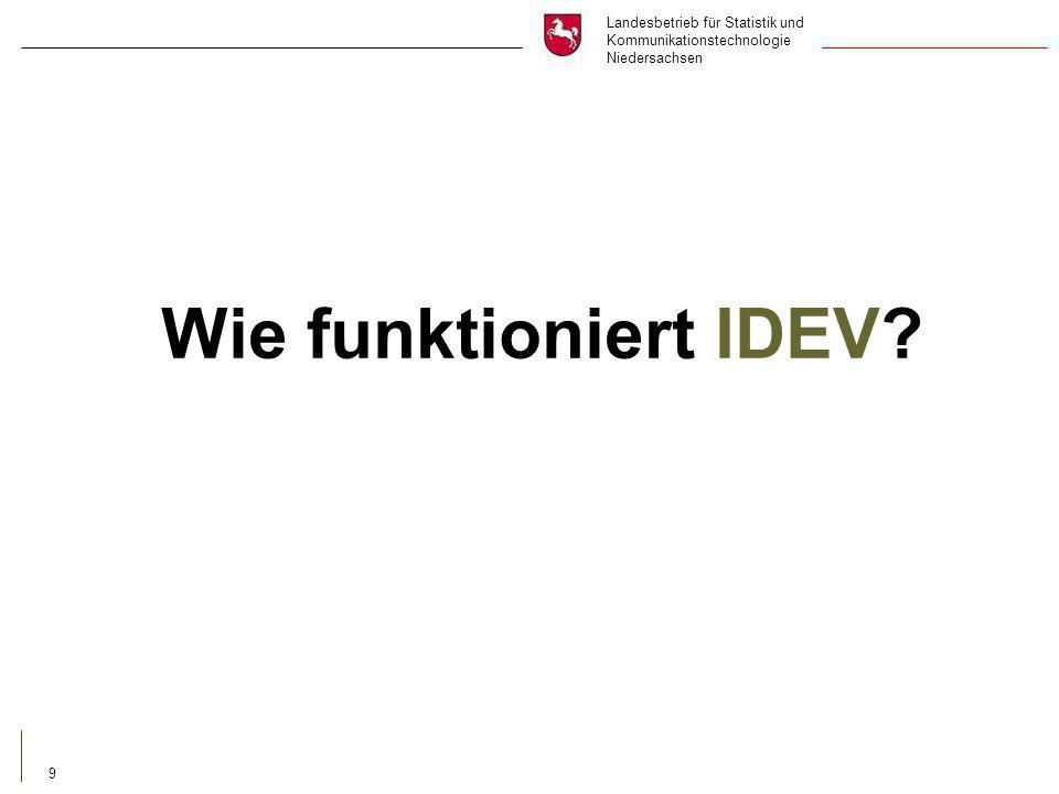 Landesbetrieb für Statistik und Kommunikationstechnologie Niedersachsen 9 Wie funktioniert IDEV?