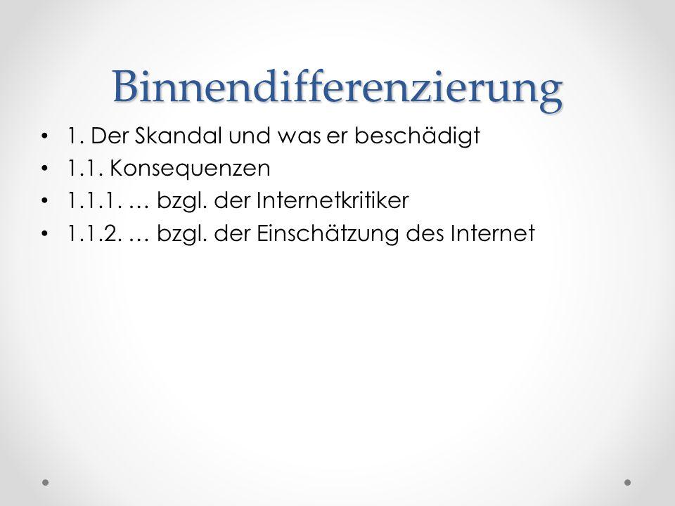 Binnendifferenzierung 1.1. Konsequenzen 1.1.1. … bzgl. der Internetkritiker 1.1.2. … bzgl. der Einschätzung des Internet