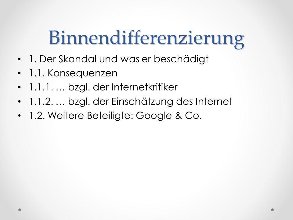 Binnendifferenzierung 1. Der Skandal und was er beschädigt 1.1. Konsequenzen 1.1.1. … bzgl. der Internetkritiker 1.1.2. … bzgl. der Einschätzung des I