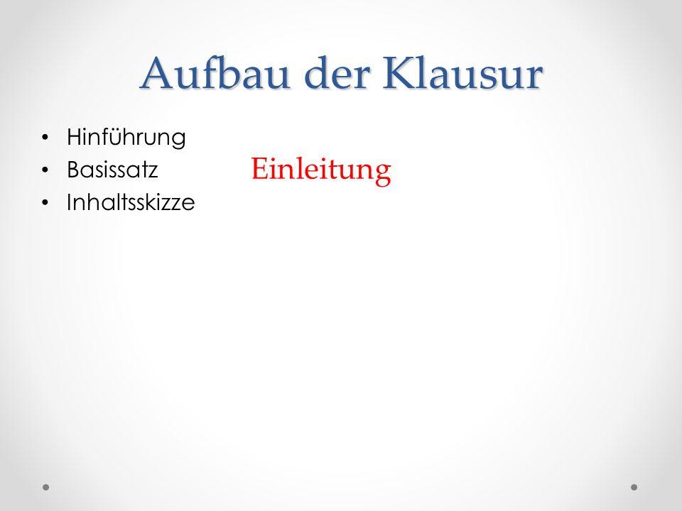 Aufbau der Klausur Hinführung Basissatz Inhaltsskizze Einleitung