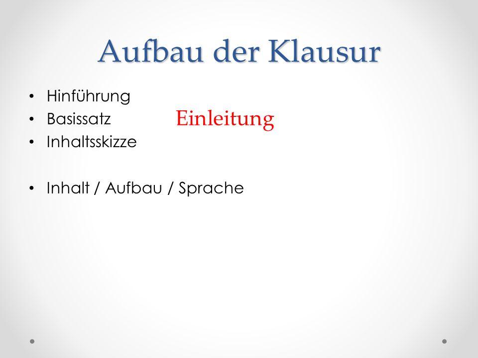 Aufbau der Klausur Hinführung Basissatz Inhaltsskizze Inhalt / Aufbau / Sprache Einleitung