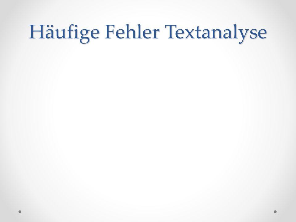 Häufige Fehler Textanalyse