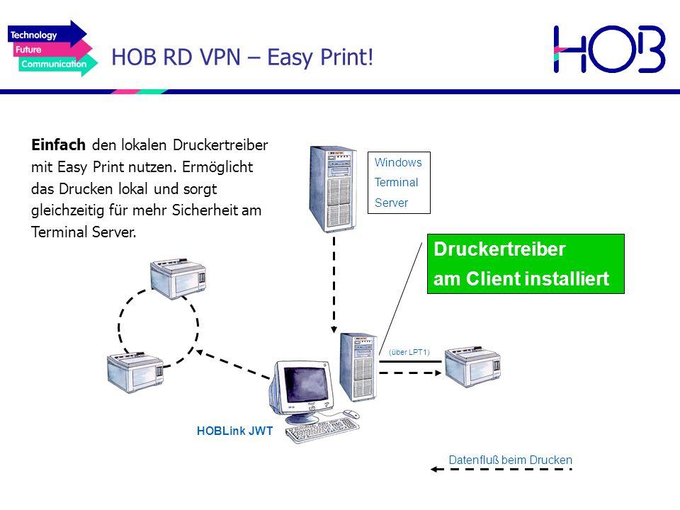 Druckertreiber am Client installiert Einfach den lokalen Druckertreiber mit Easy Print nutzen. Ermöglicht das Drucken lokal und sorgt gleichzeitig für