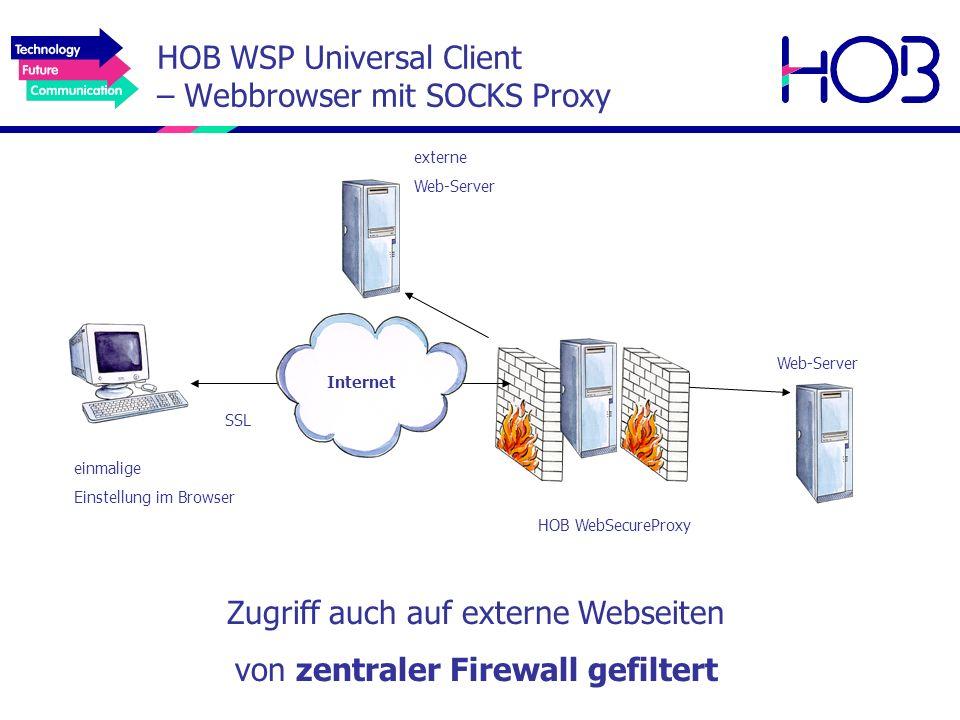 HOB WSP Universal Client – Webbrowser mit SOCKS Proxy einmalige Einstellung im Browser Web-Server Zugriff auch auf externe Webseiten von zentraler Fir