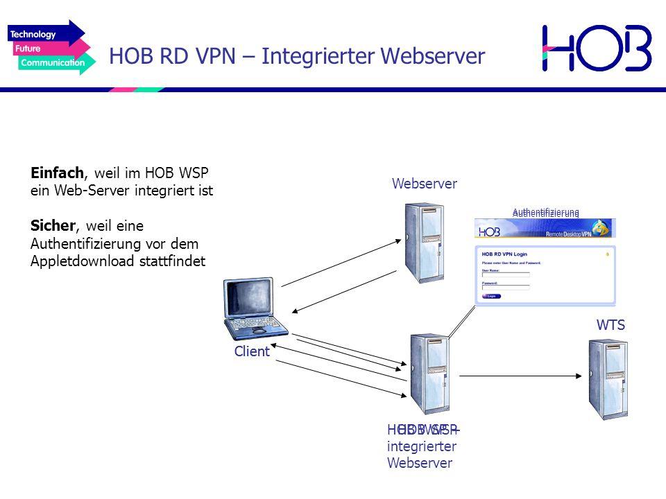 HOB RD VPN – Integrierter Webserver Einfach, weil im HOB WSP ein Web-Server integriert ist Sicher, weil eine Authentifizierung vor dem Appletdownload
