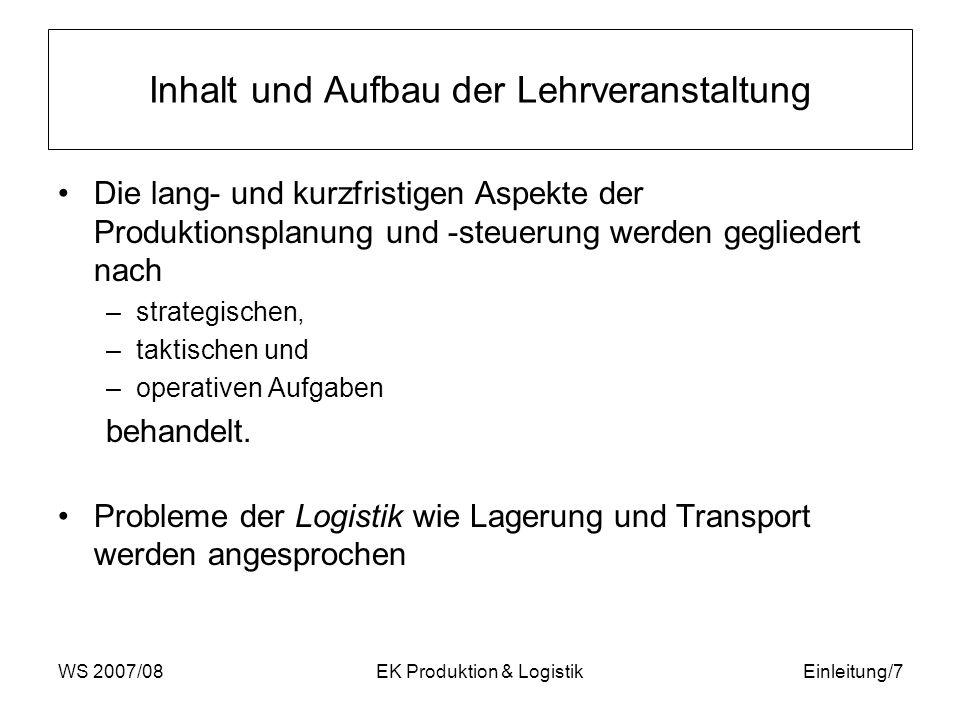 WS 2007/08EK Produktion & LogistikEinleitung/8 Literatur Vorlesungsbegleitend muss folgendes Lehrbuch gelesen werden: Günther, H.O., Tempelmeier, H.: Produktion und Logistik , 2.