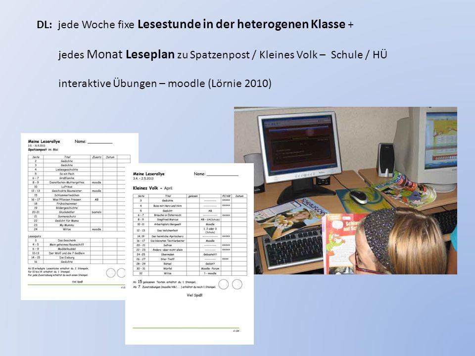 DL: jede Woche fixe Lesestunde in der heterogenen Klasse + jedes Monat Leseplan zu Spatzenpost / Kleines Volk – Schule / HÜ interaktive Übungen – mood