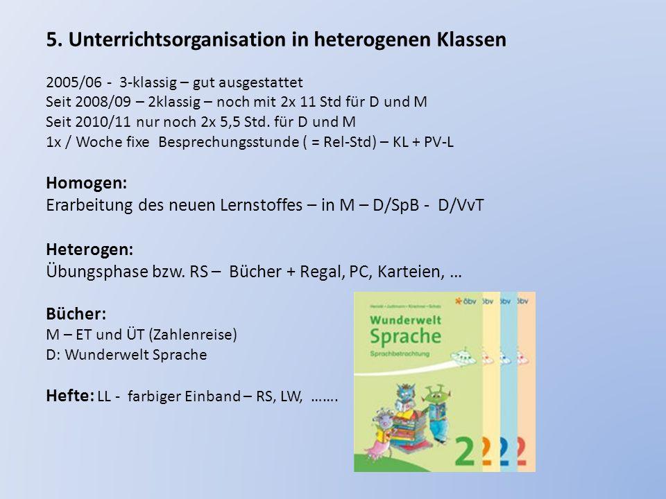 5. Unterrichtsorganisation in heterogenen Klassen 2005/06 - 3-klassig – gut ausgestattet Seit 2008/09 – 2klassig – noch mit 2x 11 Std für D und M Seit