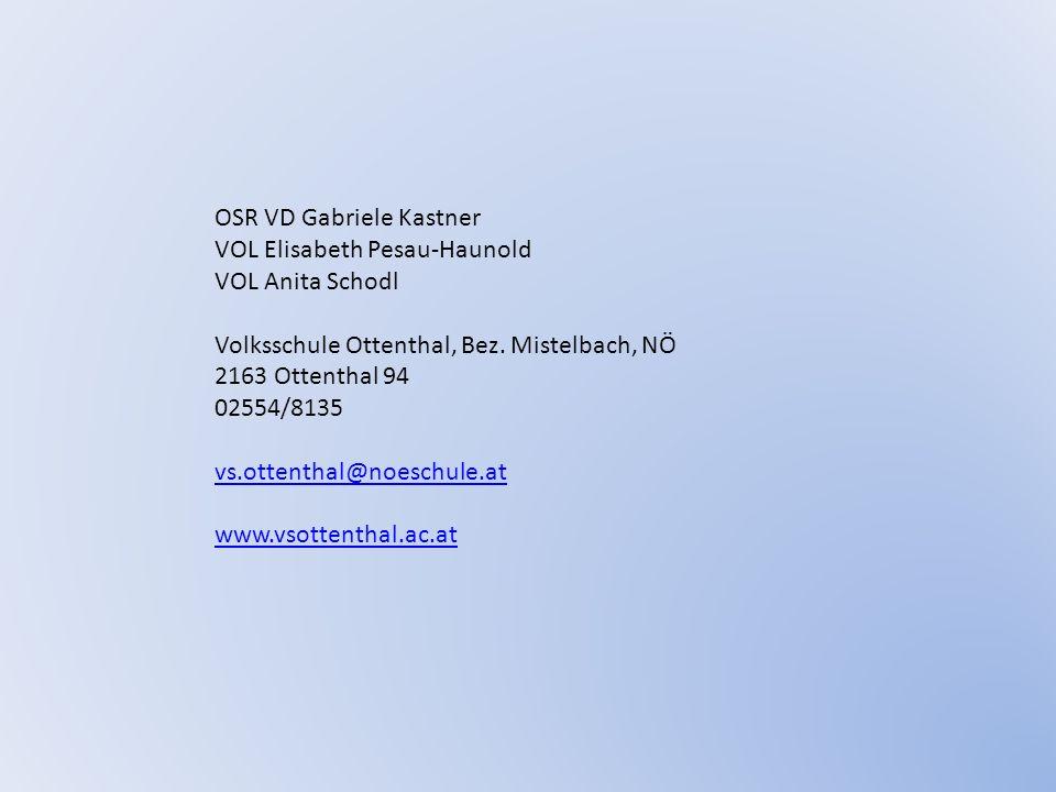 OSR VD Gabriele Kastner VOL Elisabeth Pesau-Haunold VOL Anita Schodl Volksschule Ottenthal, Bez. Mistelbach, NÖ 2163 Ottenthal 94 02554/8135 vs.ottent