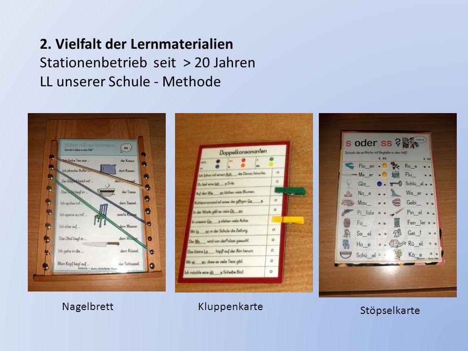 2. Vielfalt der Lernmaterialien Stationenbetrieb seit > 20 Jahren LL unserer Schule - Methode NagelbrettKluppenkarte Stöpselkarte