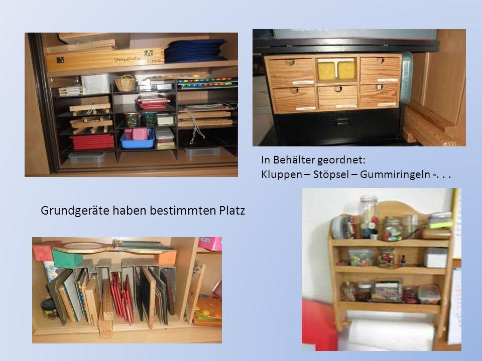 In Behälter geordnet: Kluppen – Stöpsel – Gummiringeln -... Grundgeräte haben bestimmten Platz