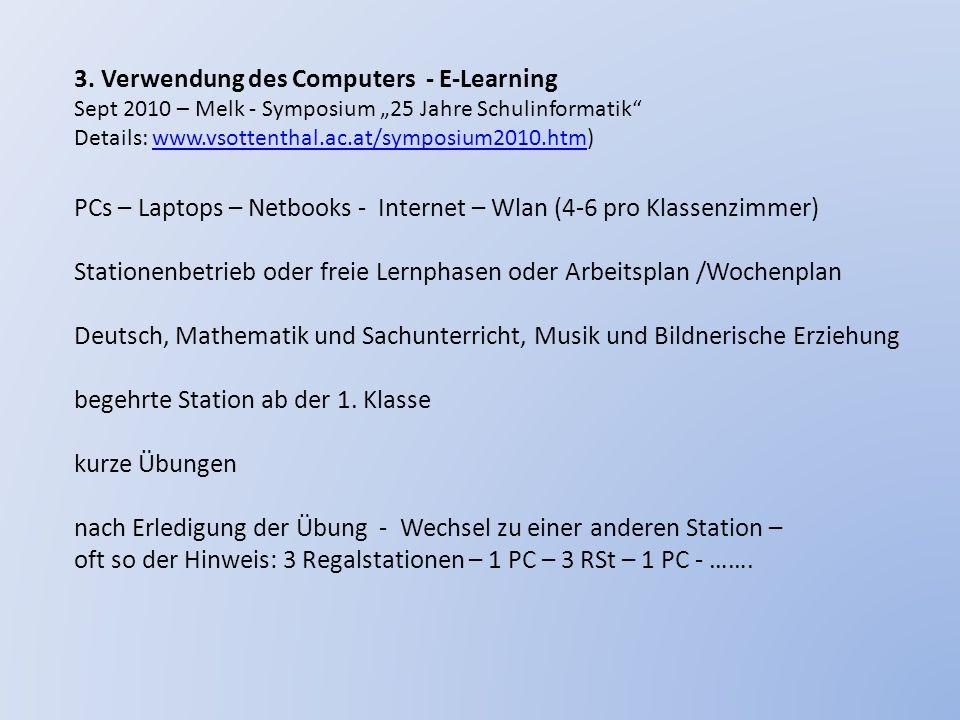 3. Verwendung des Computers - E-Learning Sept 2010 – Melk - Symposium 25 Jahre Schulinformatik Details: www.vsottenthal.ac.at/symposium2010.htm)www.vs