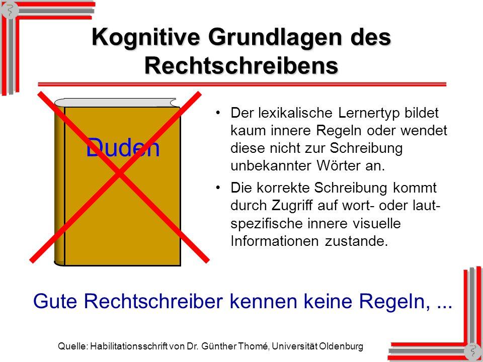 Kognitive Grundlagen des Rechtschreibens Quelle: Habilitationsschrift von Dr.
