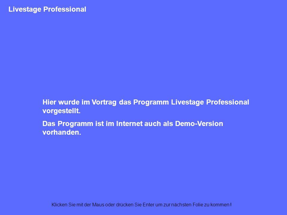 Livestage Professional QuickTime Authoring Tracks (QuickTime-Film = Mediencontainer) Hotspots und Buttons QScript