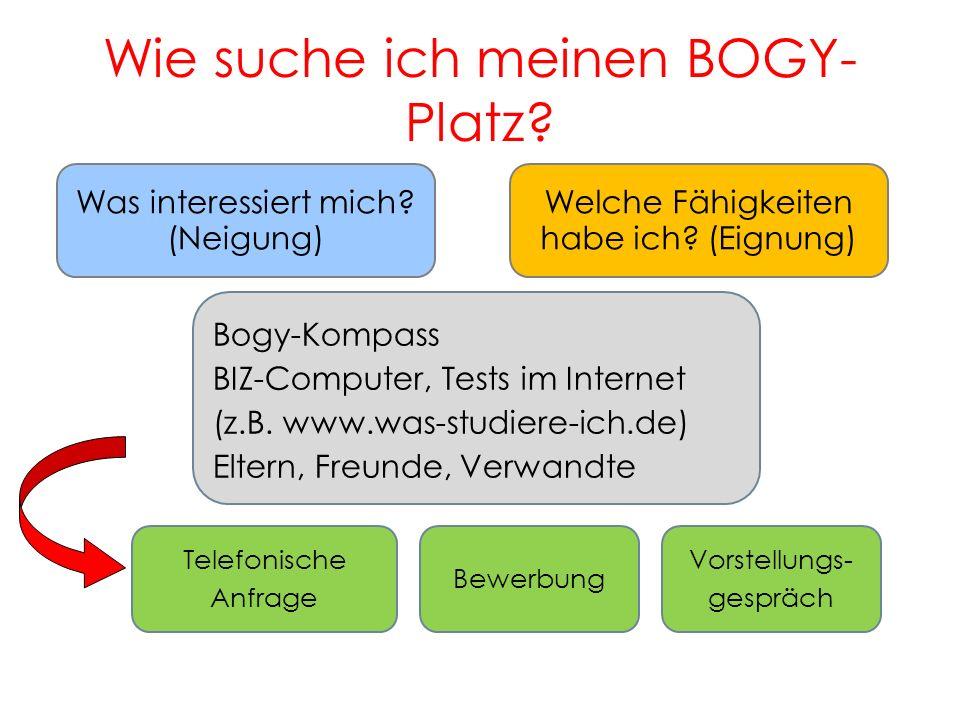 Wie suche ich meinen BOGY- Platz? 11 Was interessiert mich? (Neigung) Welche Fähigkeiten habe ich? (Eignung) Bogy-Kompass BIZ-Computer, Tests im Inter