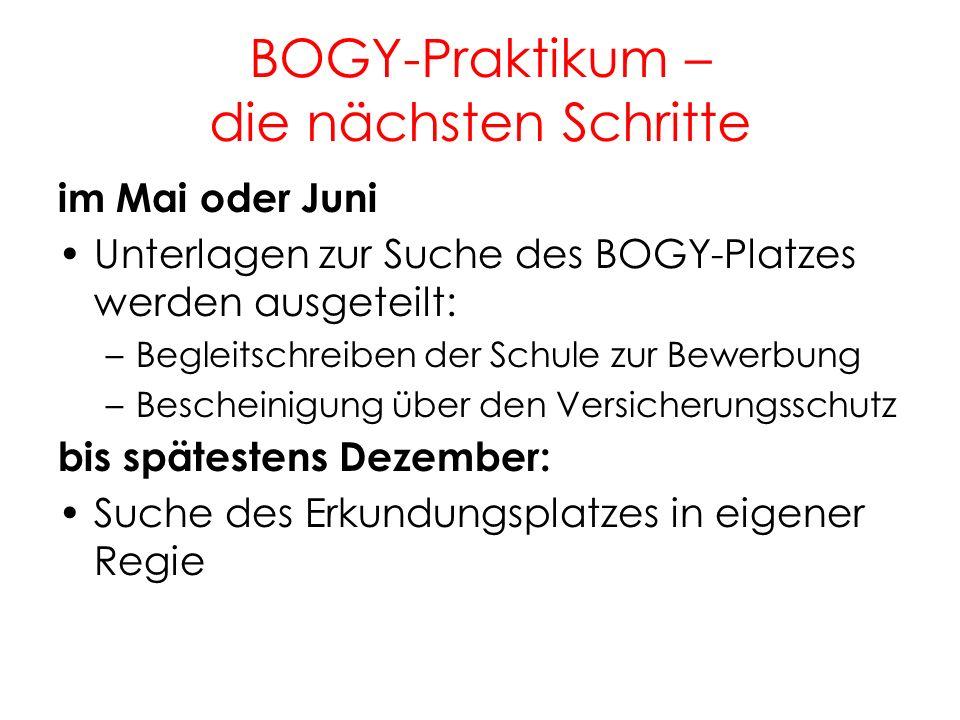 BOGY-Praktikum – die nächsten Schritte 12 im Mai oder Juni Unterlagen zur Suche des BOGY-Platzes werden ausgeteilt: –Begleitschreiben der Schule zur B