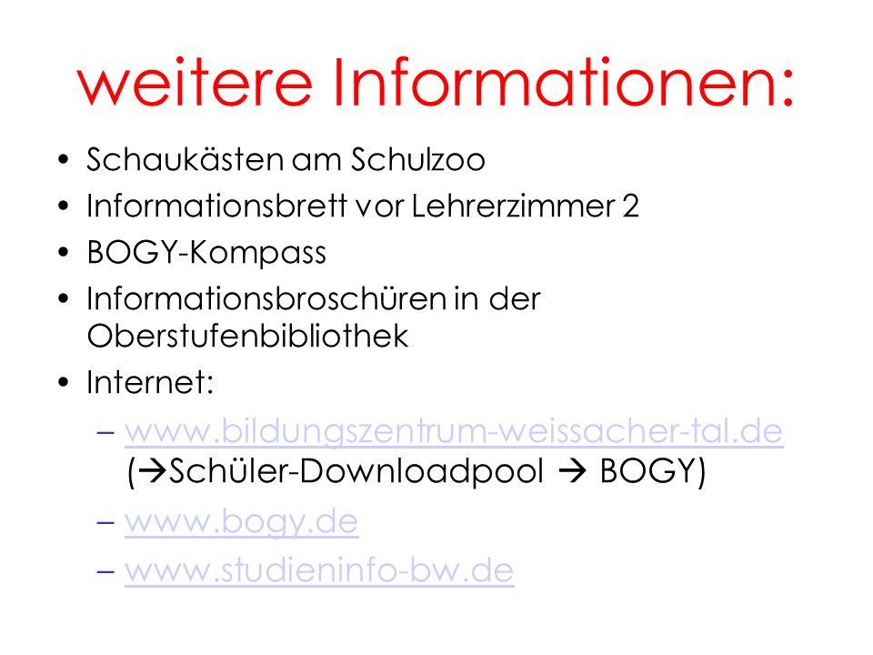 weitere Informationen: Schaukästen am Schulzoo Informationsbrett vor Lehrerzimmer 2 BOGY-Kompass Informationsbroschüren in der Oberstufenbibliothek In