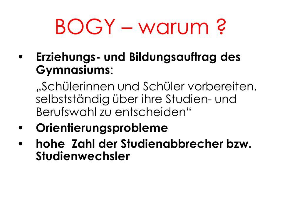 BOGY – warum ? 2 Erziehungs- und Bildungsauftrag des Gymnasiums : Schülerinnen und Schüler vorbereiten, selbstständig über ihre Studien- und Berufswah