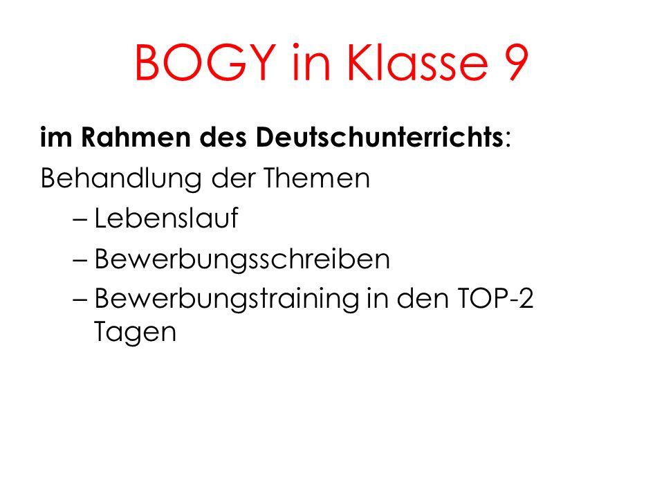 BOGY in Klasse 9 im Rahmen des Deutschunterrichts : Behandlung der Themen –Lebenslauf –Bewerbungsschreiben –Bewerbungstraining in den TOP-2 Tagen 3