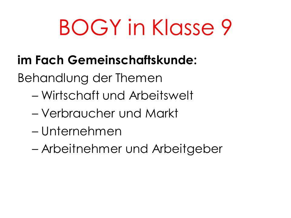 BOGY in Klasse 9 5 Während der TOP 2–Tage im Februar / März: Beginn der Portfolioarbeit mit dem BOGY- Kompass Besuch des Berufsinformationszentrums in Waiblingen Bewerbertraining in Zusammenarbeit mit externen Partnern (AOK Schorndorf, Kreisparkasse WN) eintägige Betriebserkundung in einem Unternehmen der Region, z.B: Harro Höfliger (Allmersbach), Lorch (Auenwald) u.a.
