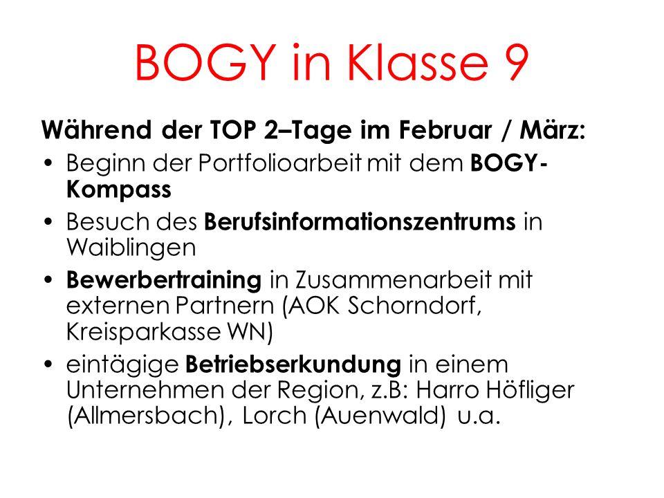 BOGY in Klasse 9 5 Während der TOP 2–Tage im Februar / März: Beginn der Portfolioarbeit mit dem BOGY- Kompass Besuch des Berufsinformationszentrums in