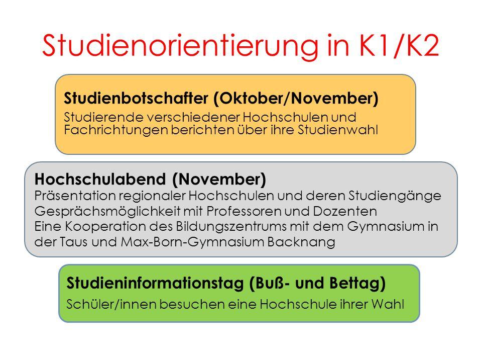 Studienorientierung in K1/K2 7 Studienbotschafter (Oktober/November) Studierende verschiedener Hochschulen und Fachrichtungen berichten über ihre Stud