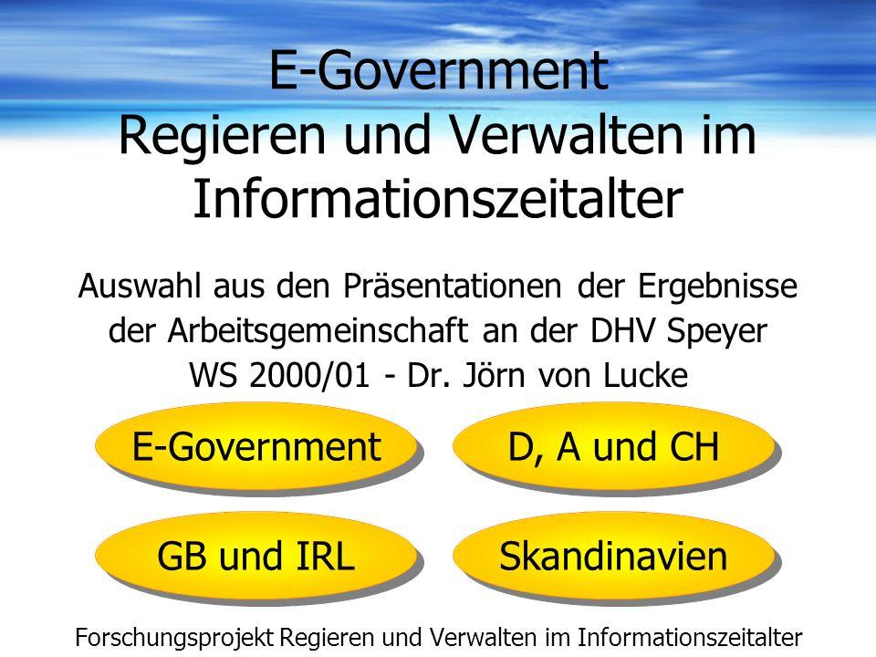 E-Government Regieren und Verwalten im Informationszeitalter Auswahl aus den Präsentationen der Ergebnisse der Arbeitsgemeinschaft an der DHV Speyer W
