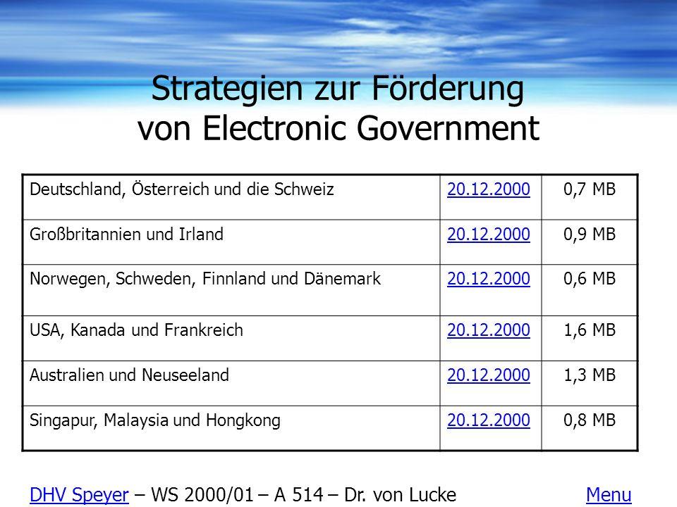 Strategien zur Förderung von Electronic Government Deutschland, Österreich und die Schweiz20.12.20000,7 MB Großbritannien und Irland20.12.20000,9 MB N